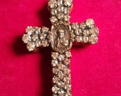 One of a kind rhinestone cross large pendant religious jewelry destash supply
