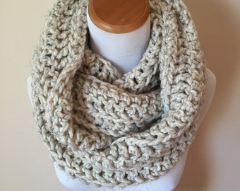 THE ORION - Oversized Infinity Scarf, Chunky, Wool-Blend, Crochet Infinity Scarf, Men's Infinity Scarf / Wheat