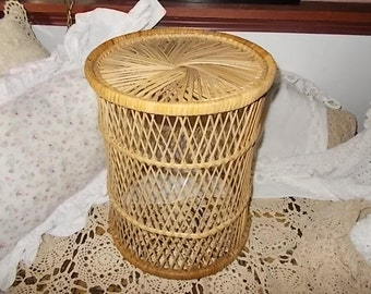 Sweet Vintage Wicker  Bamboo Small Round Table./Shabby Cottage Chic / Not included in Discount Coupon Sale New Listing