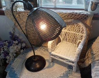 Vintage Wicker Table Lamp, Metal Bent Stand Lamp ,Vintage Wicker Lamp, Vintage  Table