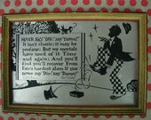 """Vintage Buzza Motto, Humorous Poem, """"Never Say Die, Say Damn!"""" Cute Graphics, Chippy Red Frame"""
