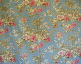 Fabulous Mas D'Ouven Duvet Cover with Matching Pillow Shams, Exquisite Floral Toile Print, Full Blown Pink Roses,  French Fabric, King  Size