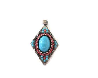 Vintage Hobe Pendant, Boho Jewelry, Silver Tone, Turquoise, Coral,Southwest Design , Signed Designer Jewelry Finding