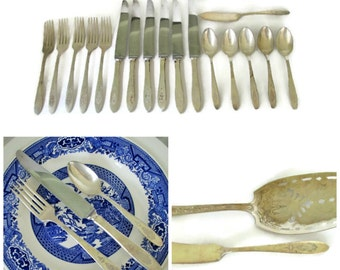Vintage Community Plate Flatware, 1926 Bird of Paradise, Silverplate Service for 5, Shabby Cottage Chic Wedding