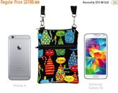 SALE 20% Travel Bag, Smartphone Pouch, Samsung Galaxy Purse, Cell Phone Case Crossbody, iPhone 6 Plus Zipper Shoulder Bag  - colorful cats