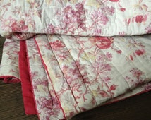 French Floral Cotton Quilt Fabulous Rose Pink Wool Filled Blanket Throw