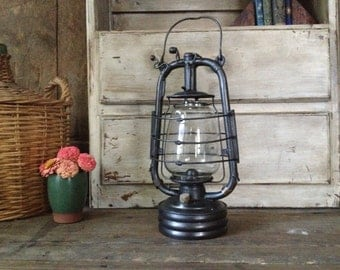 "Rustic French Iron Oil Lantern Lamp ""La Bon Jour"" Kerosene Paraffin French Farmhouse Garden Lighting Decor Prop"