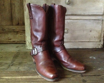 1970s Leather Riding Boots True Vintage Chestnut Brown Code West Full Grain Cowboy Ankle Strap and Buckle Harness