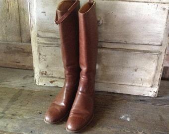 1940s Leather Riding Boots Made in England Hawkins Handcrafted Chestnut Brown Equestrian Mens 7,5 US