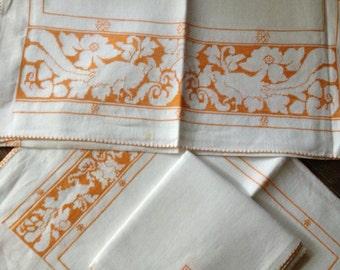 Linen Table Runner Placemat Napkin Set Hand Embroidered Cross Stitch Floral Bird Motif Marigold Ochre Color