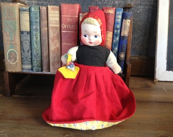 Vintage Topsy Turvy Doll ~ Little Red Riding Hood & Wolf ~ Mid Century 1940s 1950s