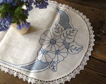 Embroidery Linen Table Runner Swedish Lace Edging Heirloom Blue Floral Pattern on White Table Linens