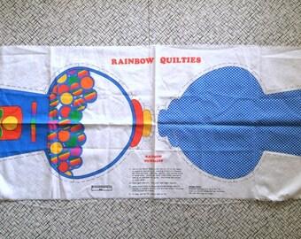 Cute Vintage 80s Rainbow Gum Ball Machine Cut N Sew Fabric Panel Pillow Craft  Retro Cartoon Character Home Decor Cute Bright Fun!
