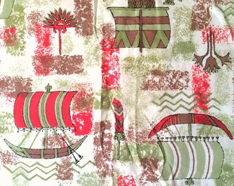 Vintage Novelty Fabric 50s Renissance Explorer Cog Sailboat Print Mid Century Modern Red and Green Yardage By the Yard Cute Bright Fun