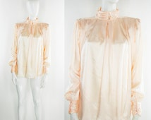80s Satin Blouse New Romantic Pale Pink Peach Lolita Glam Fairy Pastel Goth Prairie Pleated Girly Feminine New Wave Victorian Edwardian