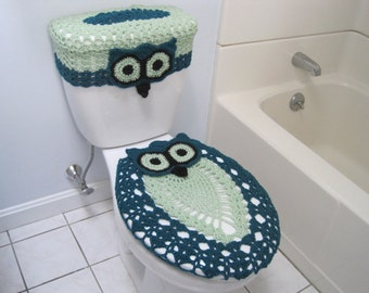 Crochet Set of Owl Toilet Tank Lid and Toilet Seat Covers - real teal/honeydew/black (OTTLTSC1B)