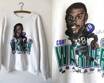 Curt Warner Rare Salem Caricature Sweatshirt - Seattle Seahawks NFL Football Throwback Vintage Sweatshirt
