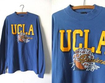UCLA Basketball Long Sleeve Shirt - 90s Throwback NCAA College Basketball Vintage Tee - Mens XL
