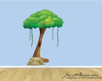 Large Jungle Tree Fabric Wall Decal, Removable and Repositionable Jungle Theme Wall Decor