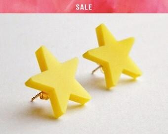 SALE Yellow Star Studs - LAST ONE!