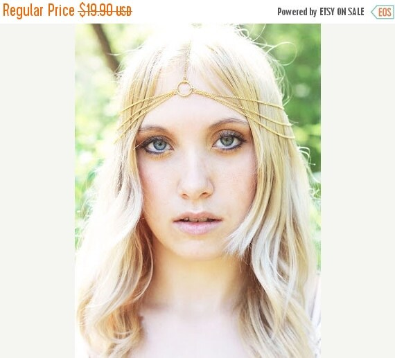 HALLOWEEN SALE 30% OFF Simple 3 Tier Gold Head Chain, Chain Headband, Chain Headpiece, Bridal Head Piece