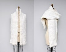 White FUR - White Rabbit Fur Wrap - Oversized Scarf Wrap Stole Shrug - SOFT Fur High - Fashion Cocktail Party Elegant Glam Wedding Bridal