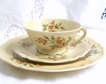 SALE -vintage Limoges tea cup trio french porcelain teacup Limoges porcelain floral tea cup french china pink roses tea cup 892