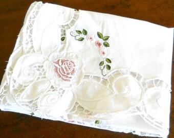vintage embroidered tablecloth pink floral tablecloth vintage white tablecloth pink embroidered tablecloth richelieu tablecloth