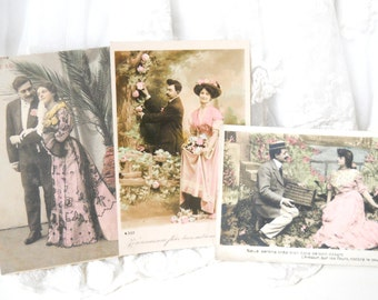 3 Antique French postcards vintage postcards vintage french french couple paper ephemera shabby chic