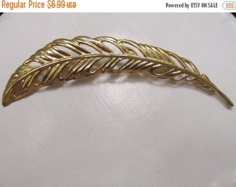 On Sale Vintage Large Gold Tone Feather Pin Item K # 1540