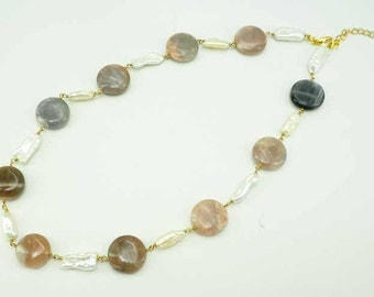 Agate,freshwater pearl on sterling silver wire necklace.
