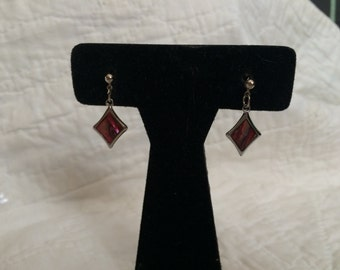 Vintage Silvertone Alpaca Dangle Design Earrings, 1'' Long