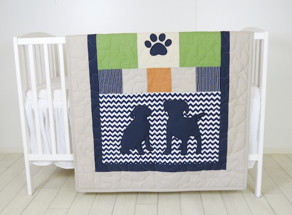 Baby Boy Blanket, Labrador Quilt, Dog Nursery Blanket, Chevron Kids Quilt,  Navy Green Beige Bedding,  Chevron Blanket, Custom Made