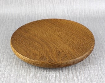Vintage Hand Turned Wooden Shallow Bowl from English Oak Wood Lightly Polished Finish