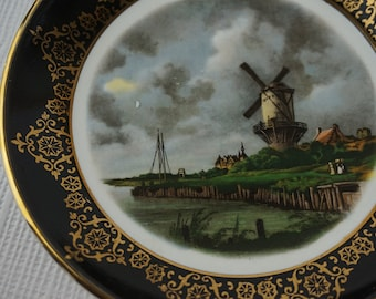 Small Round Regency Bone China Plate Black with Gold Trim Dutch Windmill Scene