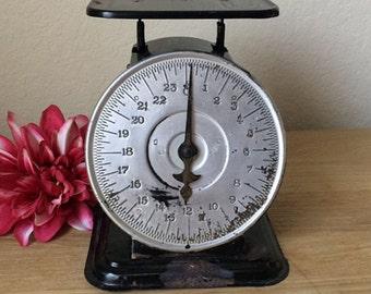 Vintage Black& Silver Triner Scale,  24 Lb. Working Antique Postal, Postage, Kitchen Scale