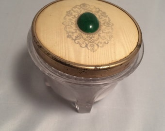 Vintage Cut Glass Cold Cream or Powder Jar, Charming Jar with great Shabby Chic-ish Lid