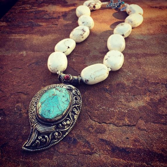 White Turquoise with Turquoise Pendant Boho Statement Necklace