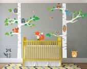 Birch Tree Wall Nursery Decal Forest with Owl Birds Squirrels Fox Porcupine Racoon Vinyl Sticker Woodland Children Decor Removable #1327