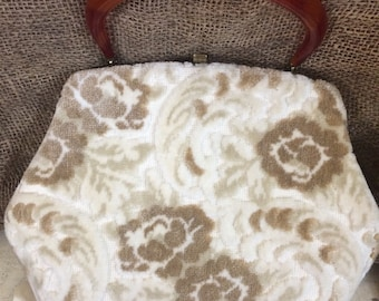 Price Reduced Chenille Carpet Purse Lucite Rootbeer Handle