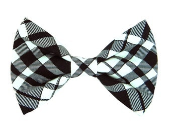 Black Plaid Bow Tie for Collar; Black and Ivory Dog Collar Bow Tie: Eastham Plaid