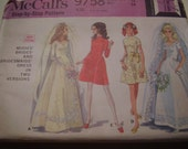 Vintage 1960's McCall's 9758 Brides' and Bridesmaids' Dress Sewing Pattern, Size 12, Bust 34