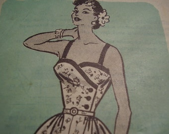 Vintage 1950's Mail Order Anne Adams 4856 Sun Dress and Bolero Sewing Pattern, Size 14, Bust 32