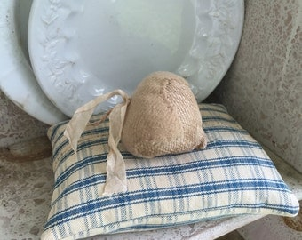 Antique Homespun Pillow with Berry Pincushion