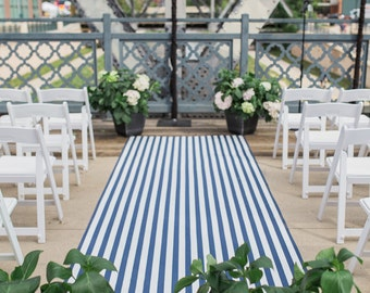 Aisle Runner, Wedding Aisle, Navy and White, Nautical, Beach Wedding, Royal Blue or Navy Blue and White, CHOOSE SIZE & COLOR