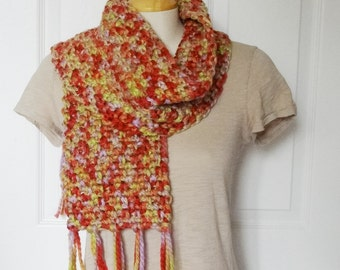 Crochet Thick and Chunky Wool Blend Scarf in Orange, Red, Yellow, Green and Pink - - Ready to Ship