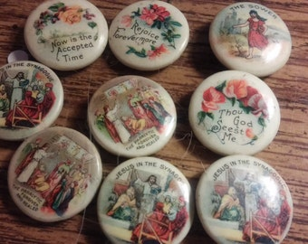 Antique Set of 9 Religious Pin Backs