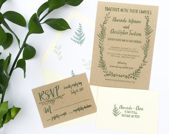 Wedding Invitation Stamp Suite - Fern Wedding Invitation, RSVP, Address Stamp - Custom Wedding Invite - Invitation Stamp - Greenery H6750
