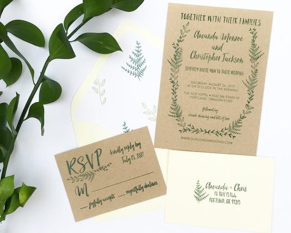 Wedding Invitation Stamp Suite Fern Wedding Invitation