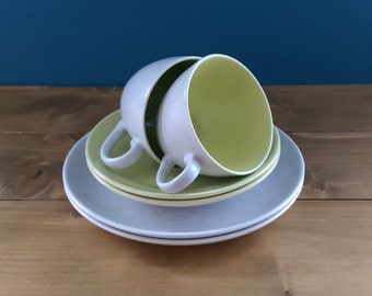 Vintage Poole Pair of Espresso Cups and Saucers in the Seagull pattern - Lime Green and Speckled Grey